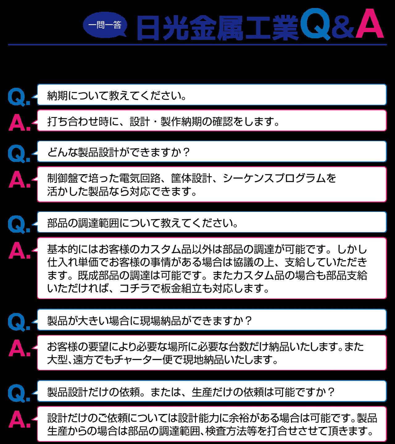 一問一答!!日光金属工業Q&A